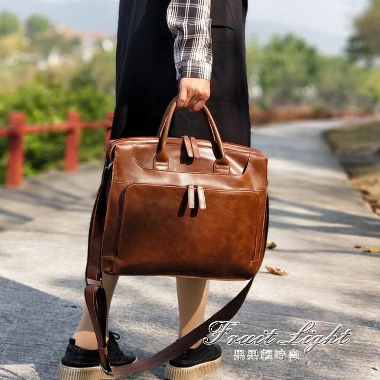 公事包 復古女包手提包公事包女電腦包公事包多夾層時尚單肩斜背包皮文藝