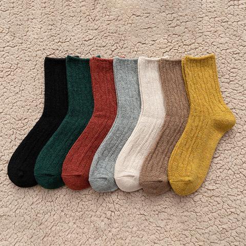 *麻花紋羊毛長襪-紅