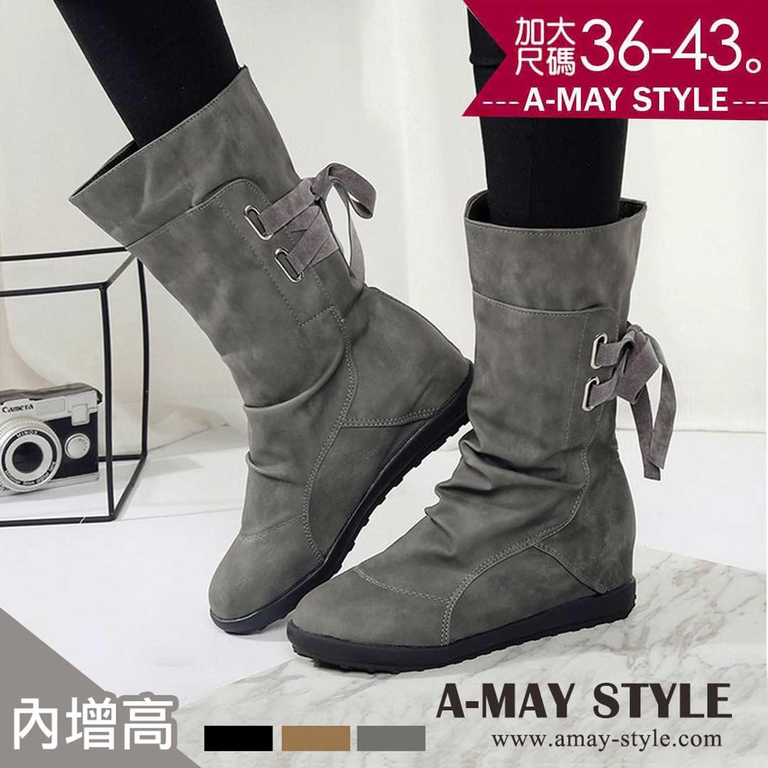 中筒靴-渲染後綁帶內增高中筒靴(36-43加大碼)【XHU111040】*艾美時尚