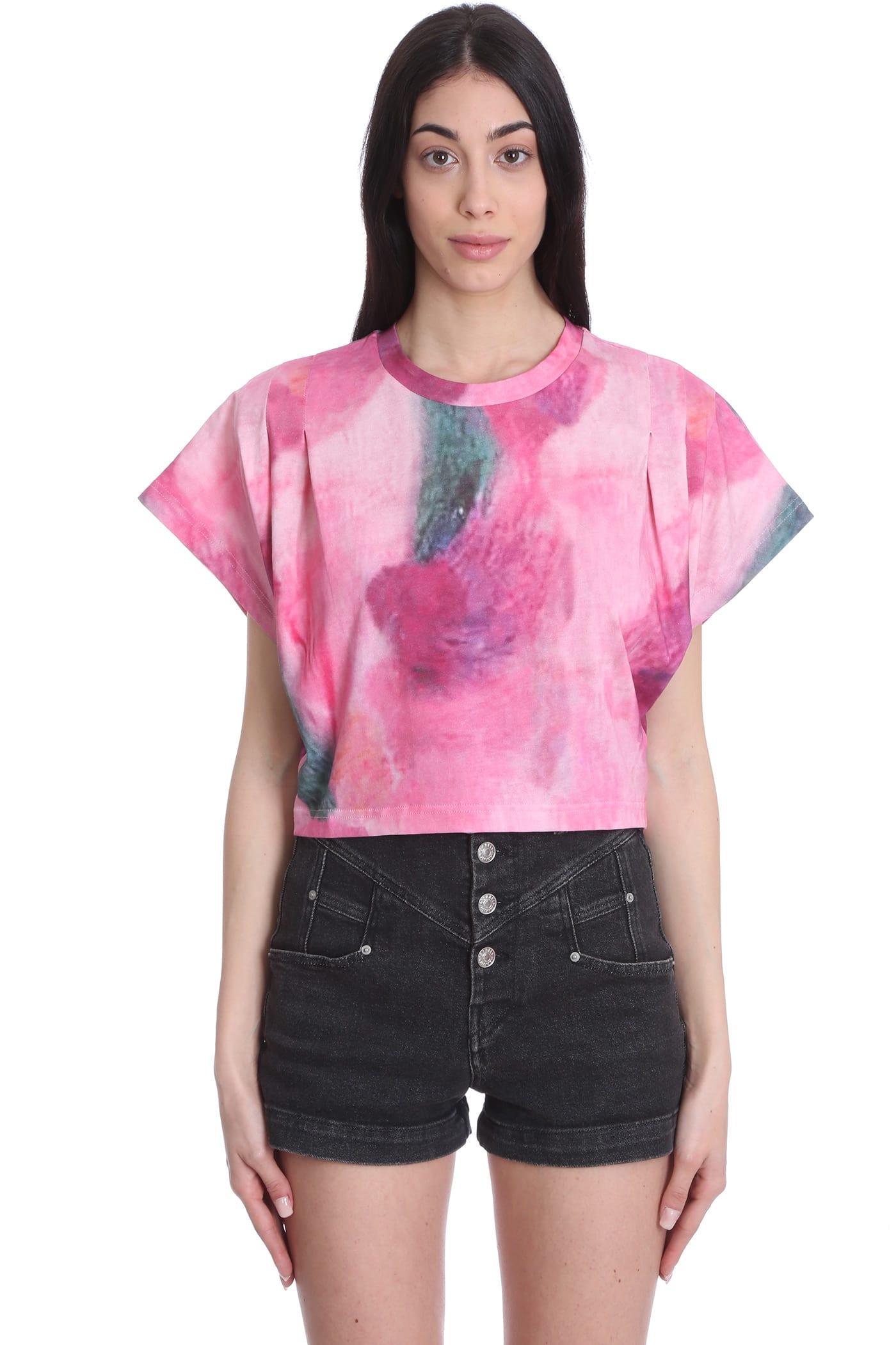 Isabel Marant Zinalia T-shirt In Rose-pink Cotton