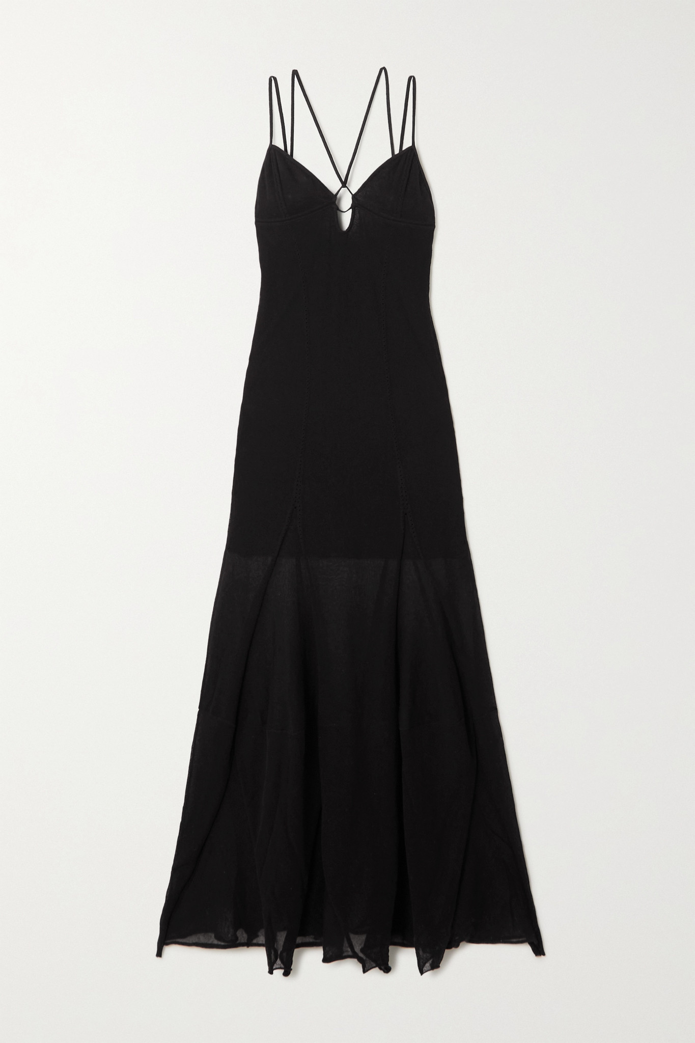 JACQUEMUS - Basgia Cutout Open-knit Organic Cotton-blend Maxi Dress - Black - FR36