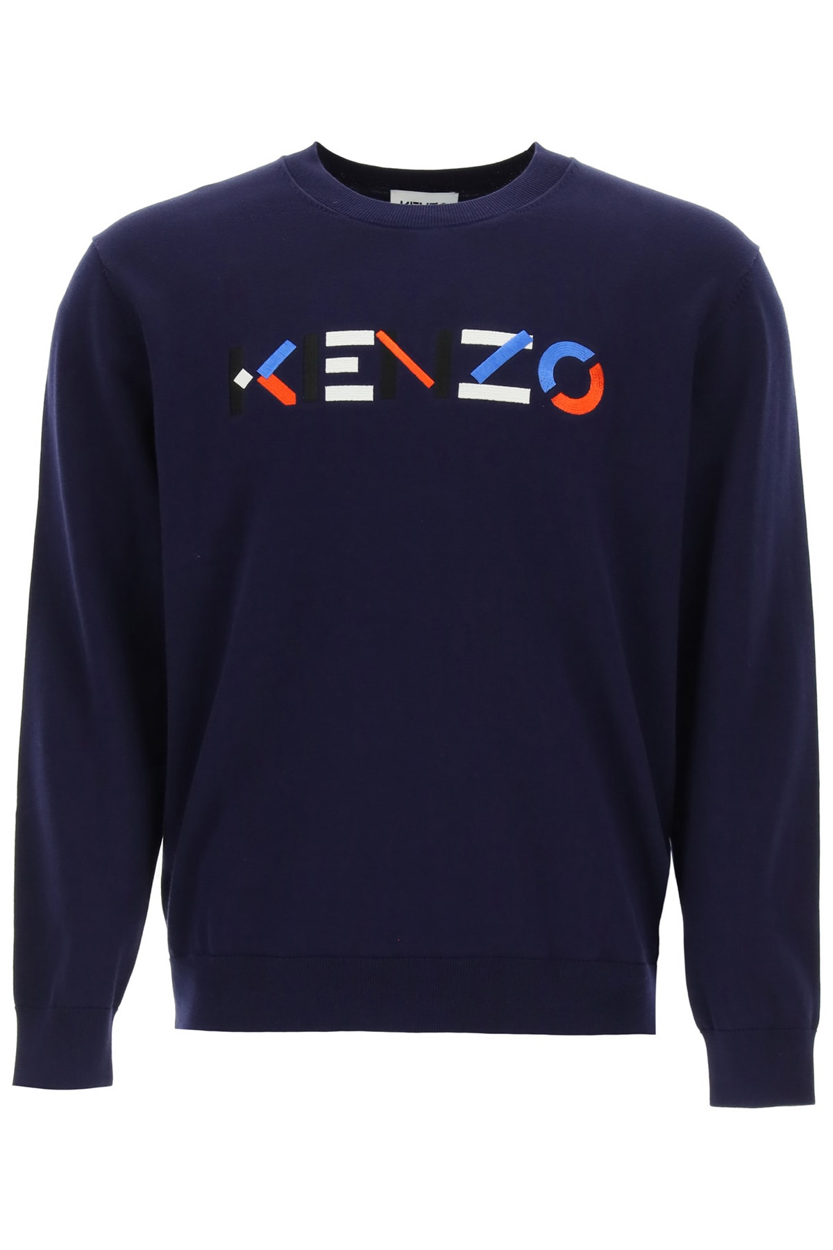 Sweater With Multicolor Logo Embroidery