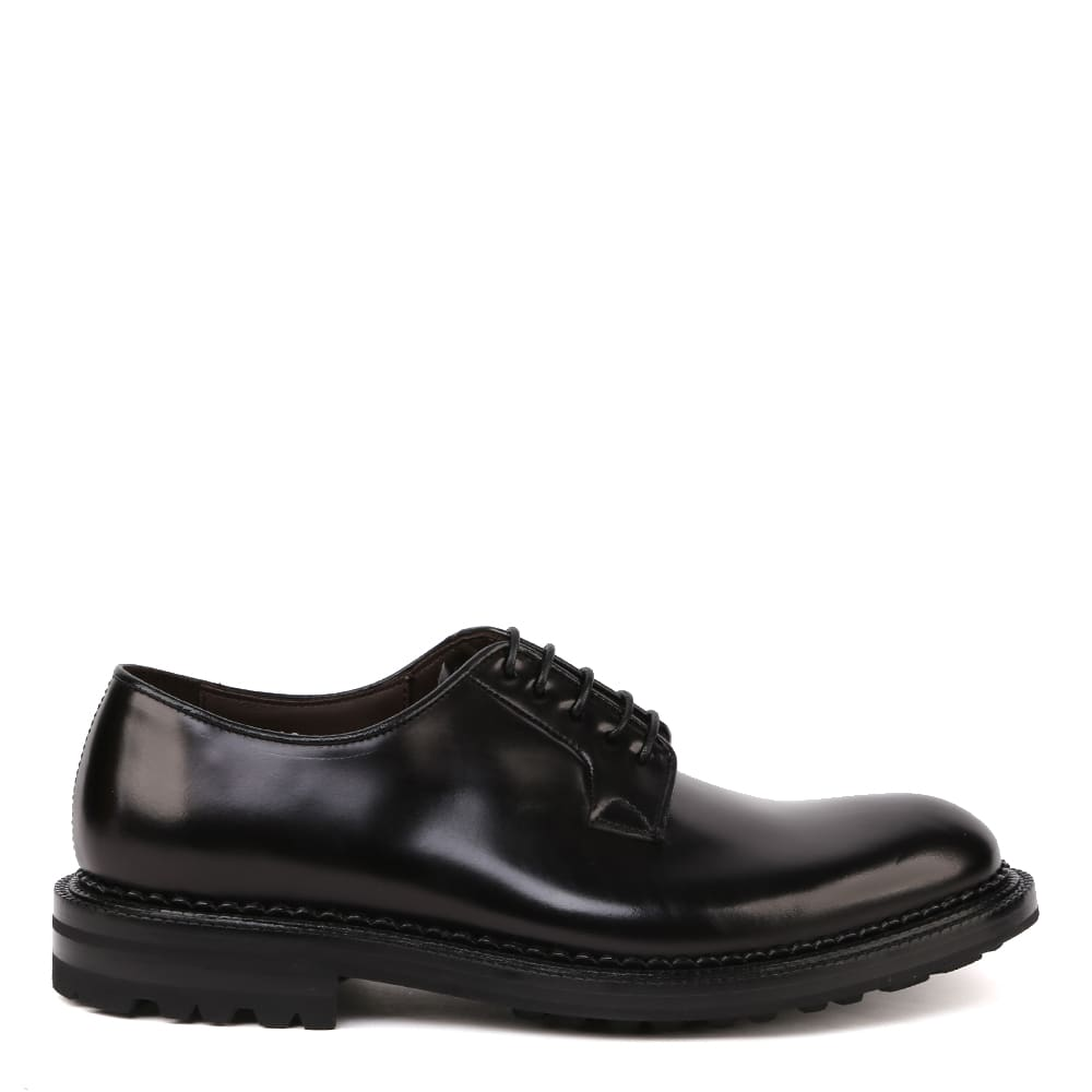 Green George Derby Lace-up Shoes In Brushed Calfskin