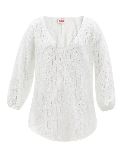Solid & Striped - The Devon V-neck Broderie-anglaise Tunic - Womens - White