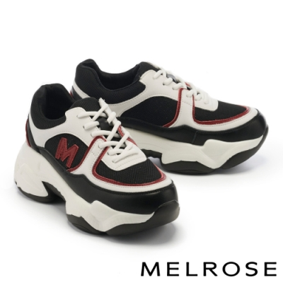 休閒鞋 MELROSE 潮流老爹風異材質拼接綁帶厚底休閒鞋-黑