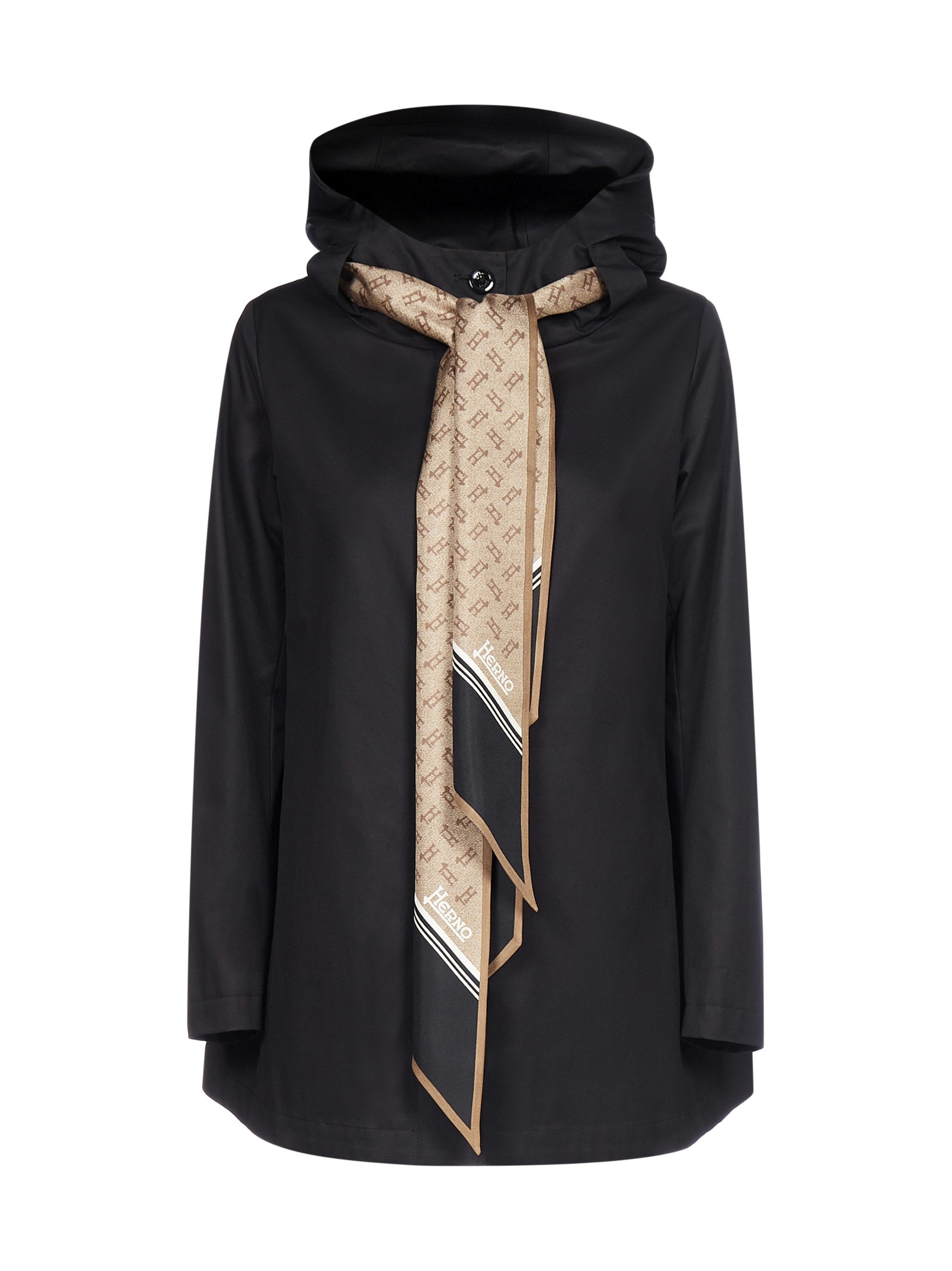 Foulard-detail Hooded Cotton Jacket