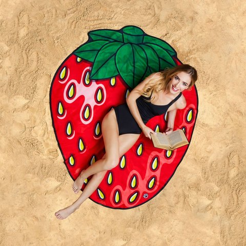 美國 Big Mouth 造型海灘毯 草莓款