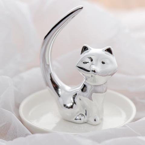 長尾貓擺飾盤