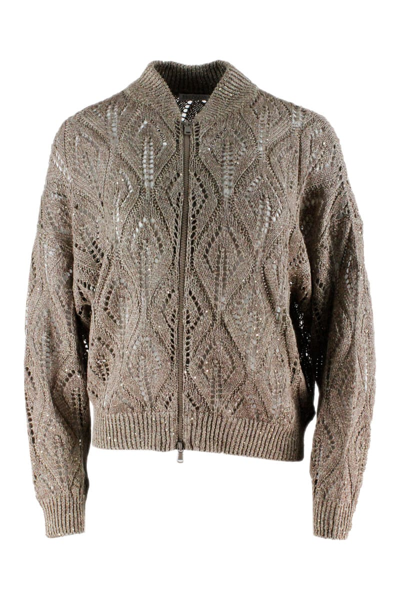 Brunello Cucinelli Cardigan Sweater With Zip And Sequins In Linen And Cotton For A Three-dimensional