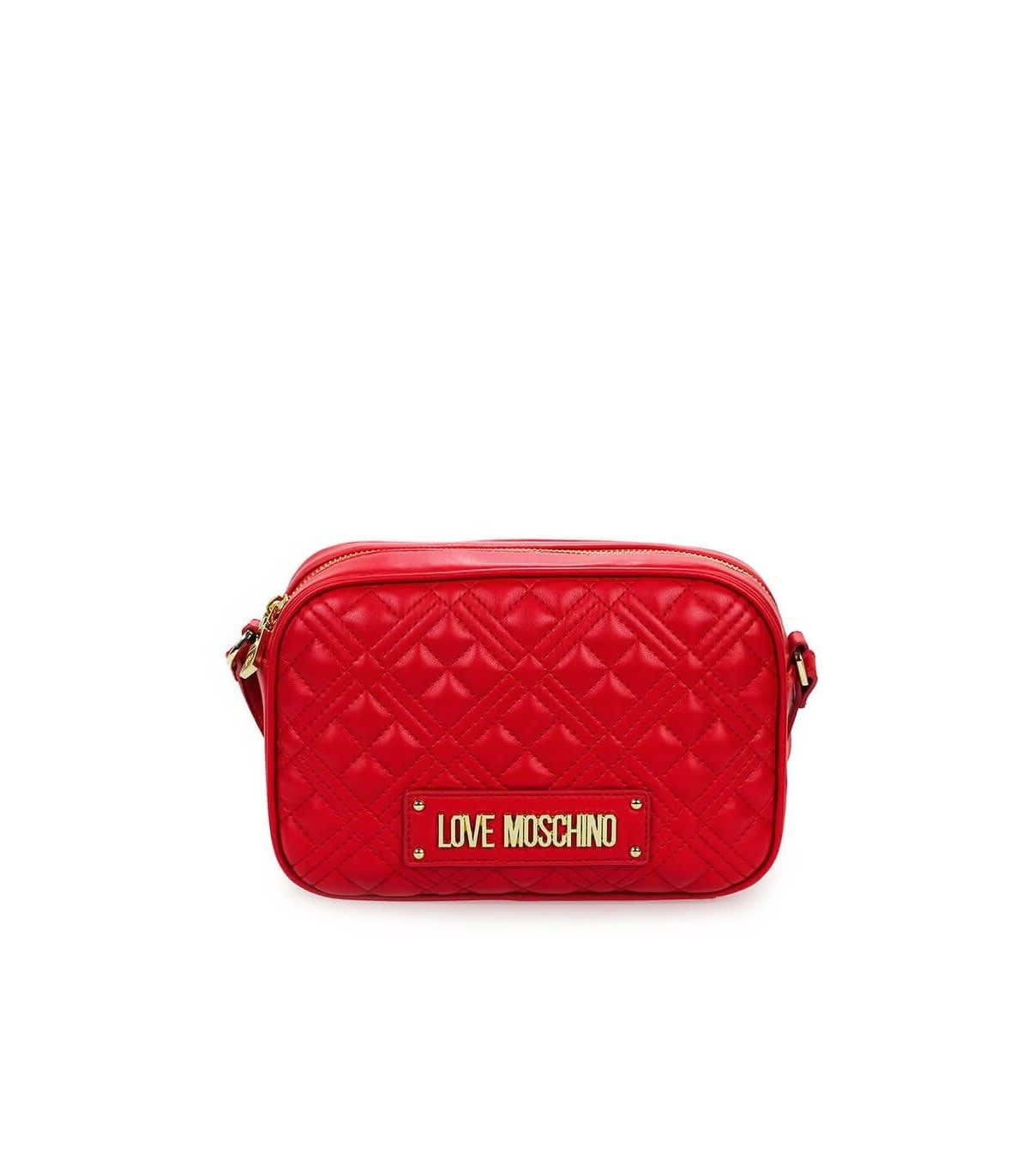 Love Moschino Quilted Red Nappa Medium Crossbody Bag