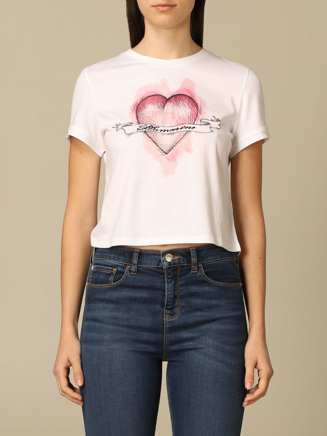 Blumarine T-shirt Blumarine Cotton T-shirt With Heart Print