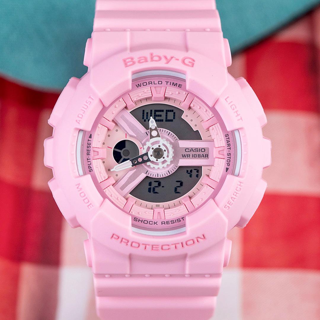 【下單抽・西堤雙人餐】BABY-G 粉嫩花朵甜美運動雙顯女錶/玫瑰粉 BA-110-4A1 防水 橡膠錶帶 BA-110-4A1DR 手錶 熱賣中!