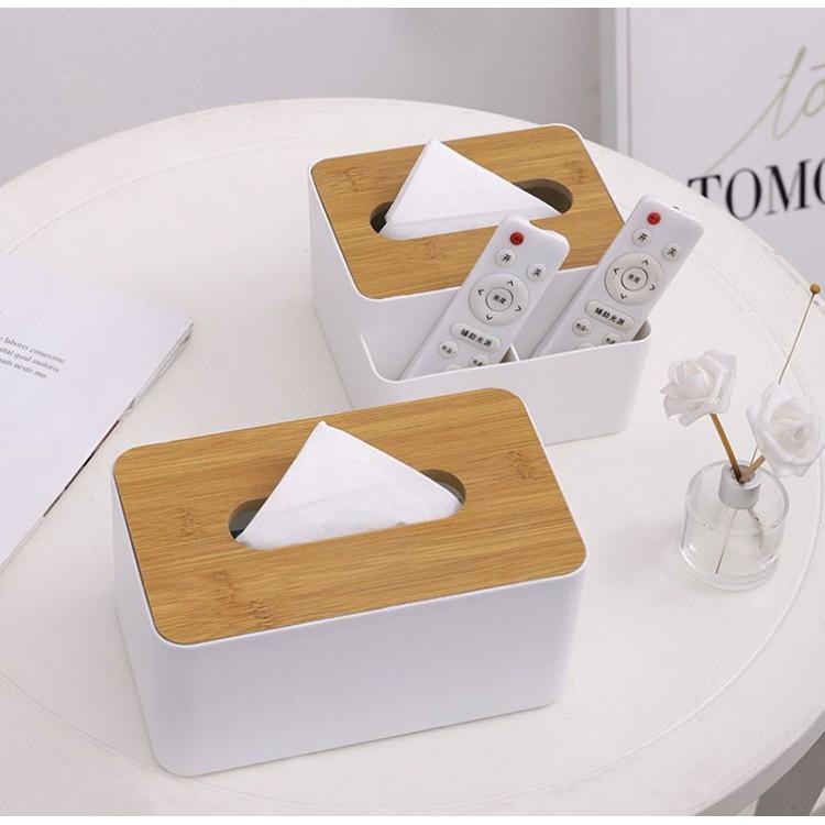 小築貓生活創意時尚木蓋面紙盒.居家衛生紙抽取式收納遙控器 - 面紙盒+收納格