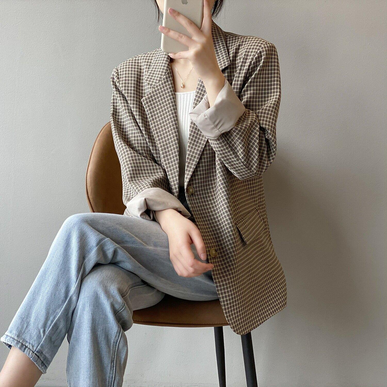 復古格子西裝女2021春季新款韓版寬鬆中長款格紋外套女