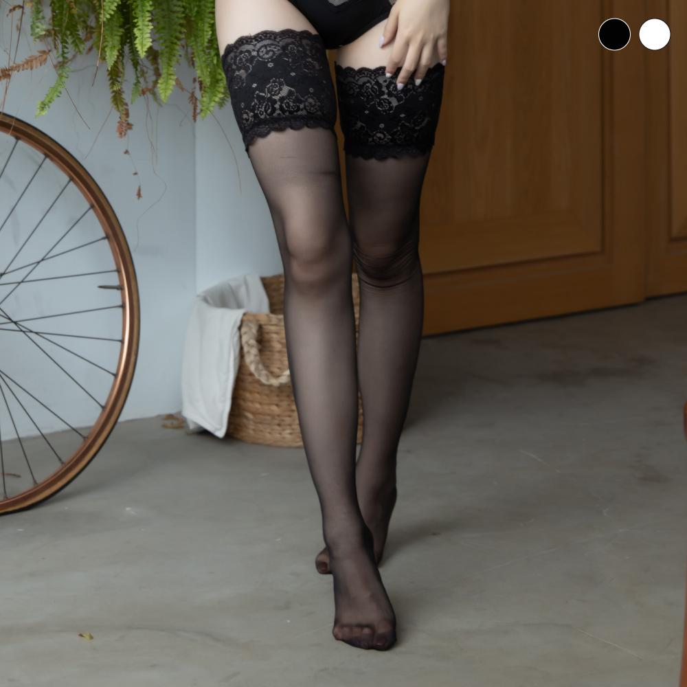 大腿襪-誘人果實-Mini Queen細緻雕花蕾絲彈性防滑大腿襪 (2色)