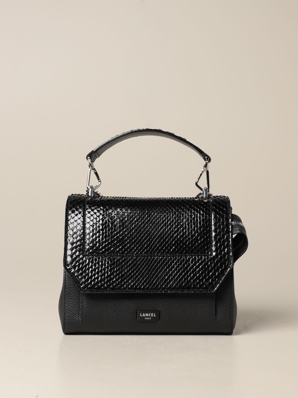 Lancel Shoulder Bag Ninon Lancel Bag In Hammered Leather And Python Leather