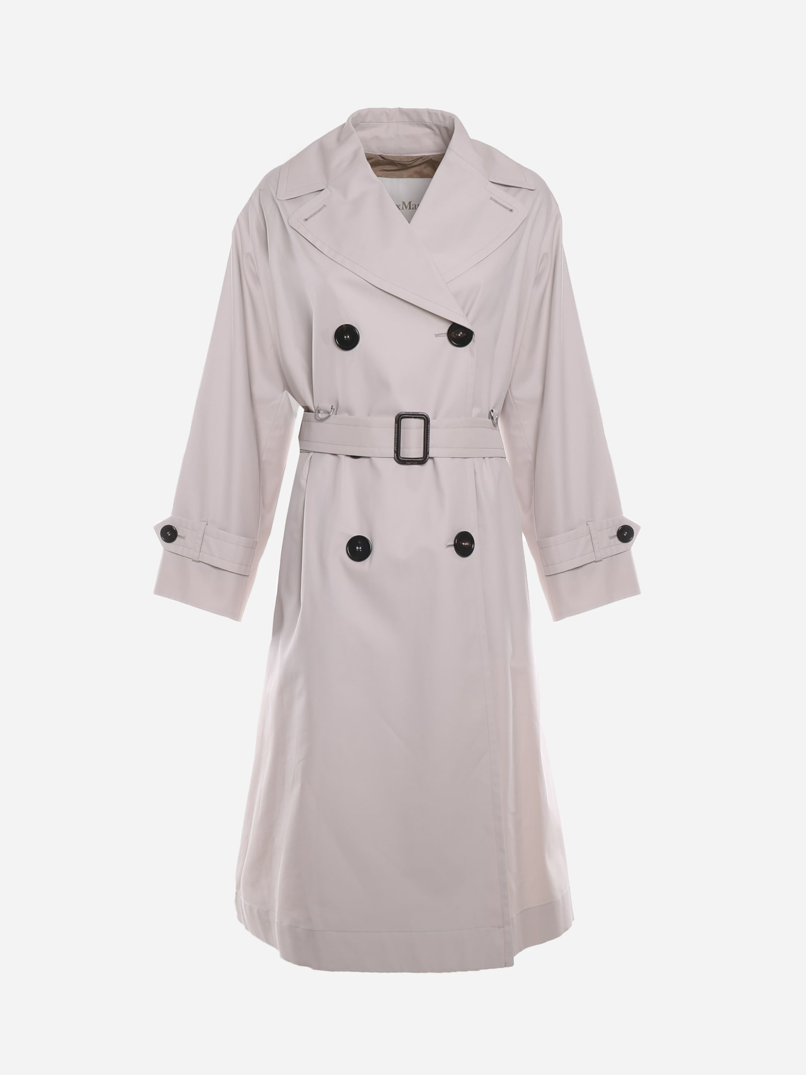 Max Mara Double-breasted Trench Coat In Pure Cotton Gabardine