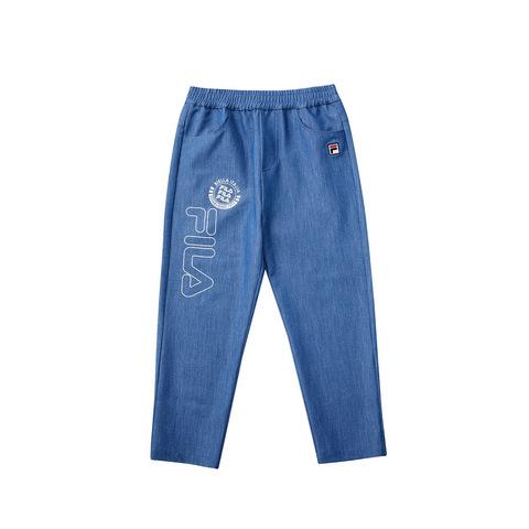 FILA KIDS 八分仿牛仔褲-藍色 1PNV-4433-BU