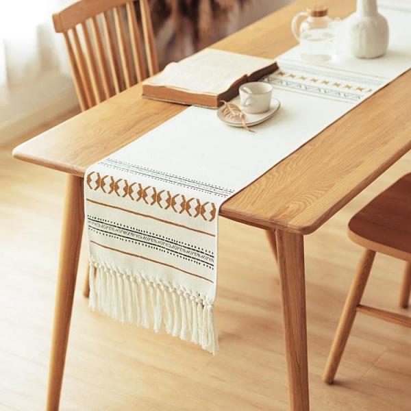 桌旗茶幾餐桌裝飾布長條北歐五斗柜蓋布桌旗布床旗【聚寶屋】