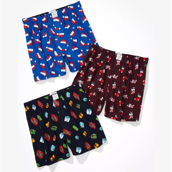 現貨 2XL AE 三件內褲組 禮盒裝 法蘭絨 平口四角褲 型男內著 拳擊內褲 AMERICAN EAGLE 大尺碼