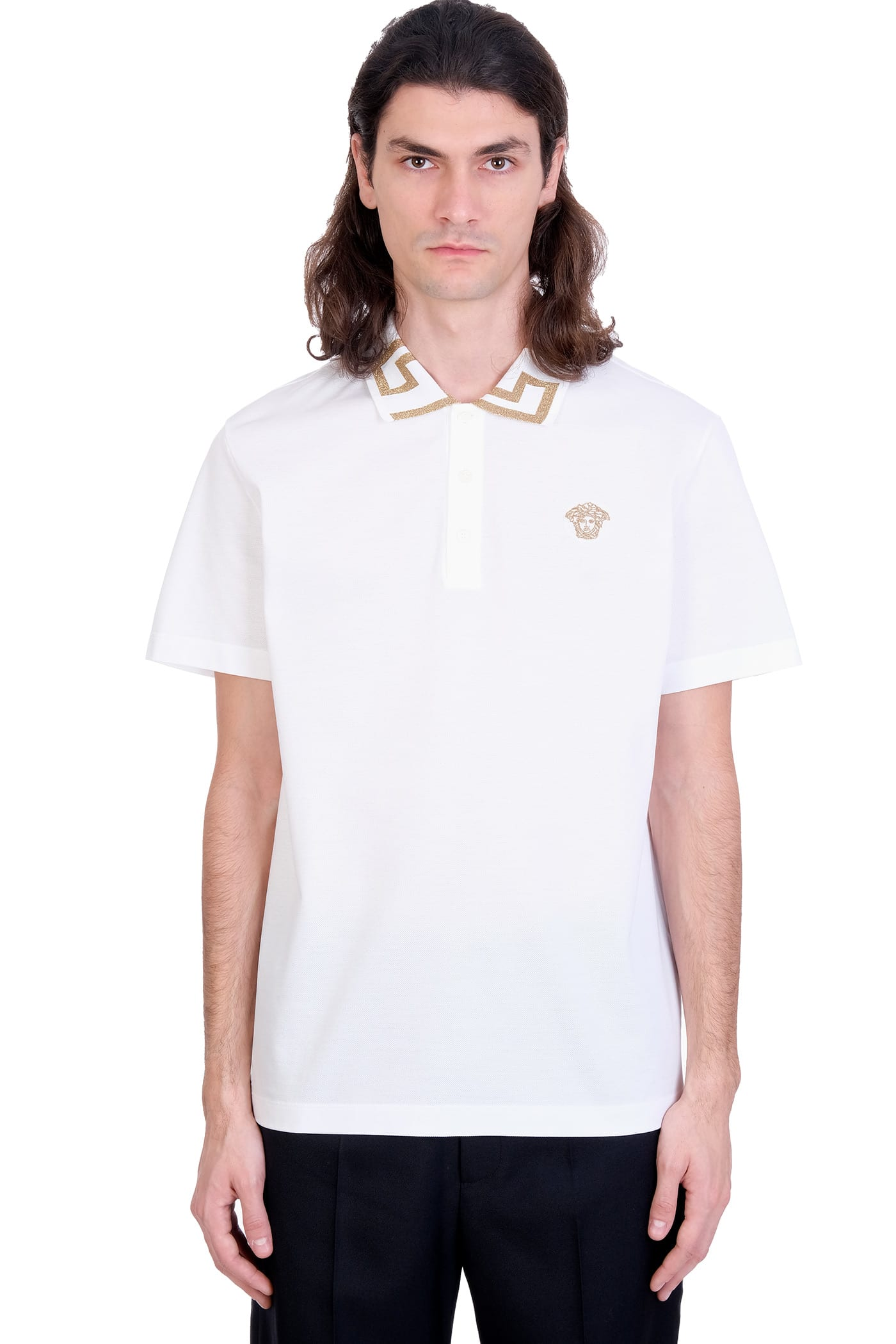 Versace Polo In White Cotton