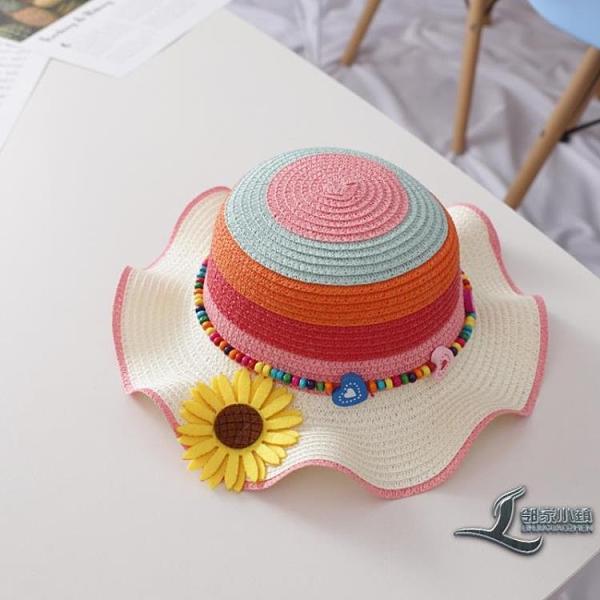寶寶帽子女夏防曬公主沙灘帽遮陽帽女童草帽太陽帽盆帽兒童漁夫帽【邻家小鎮】