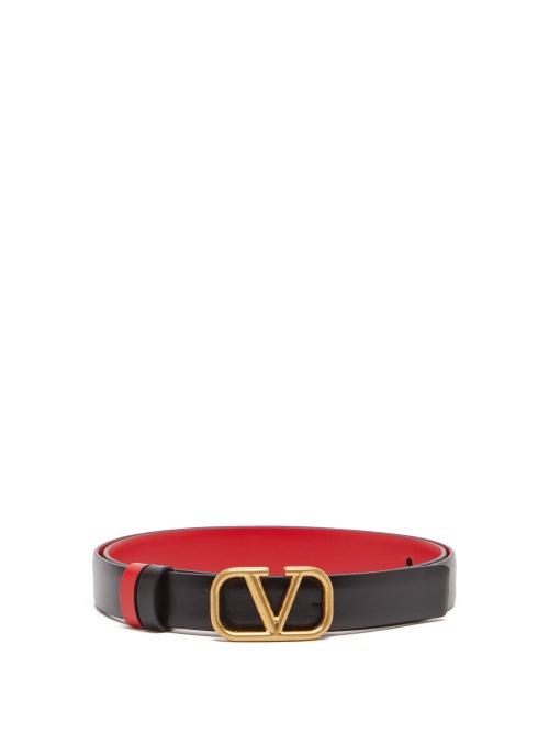 Valentino Garavani - V-logo Reversible Leather Belt - Womens - Black