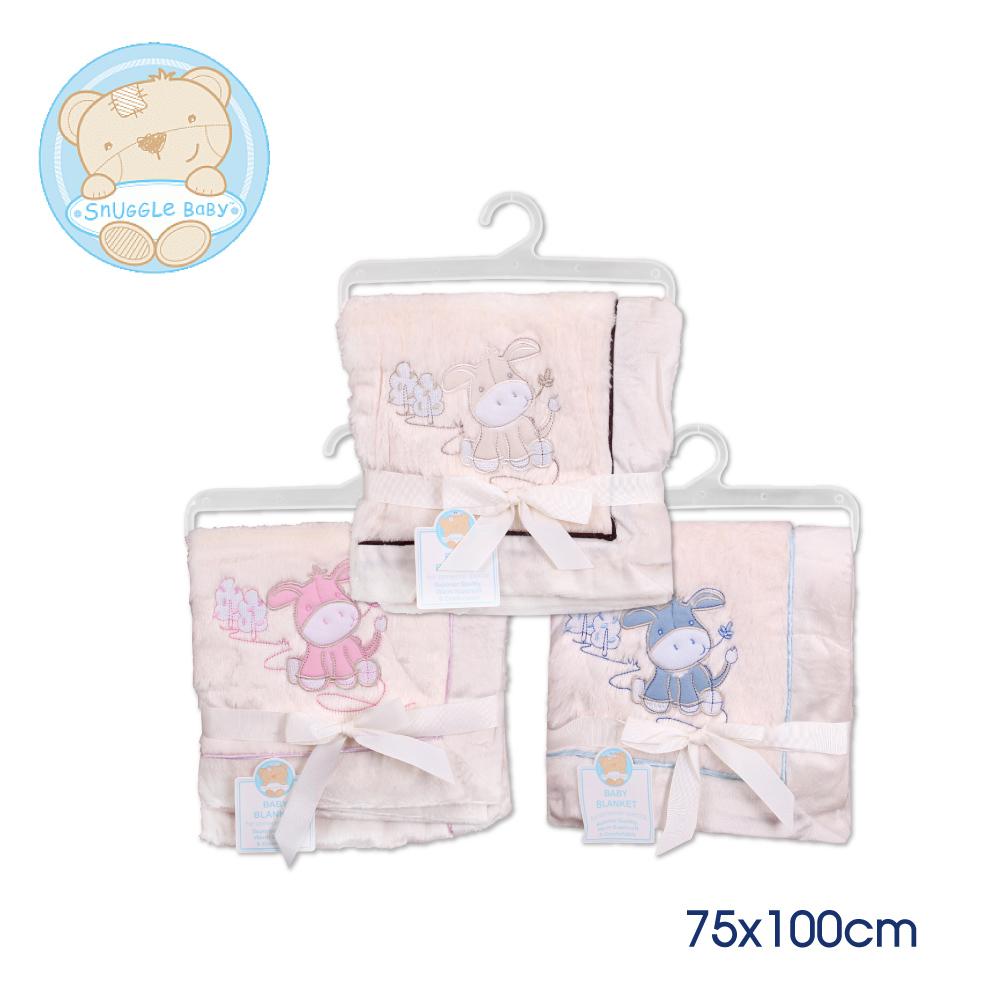 Snuggle baby 英國雙層保暖童毯-藍米粉馬75*100cm K-BW-112-674