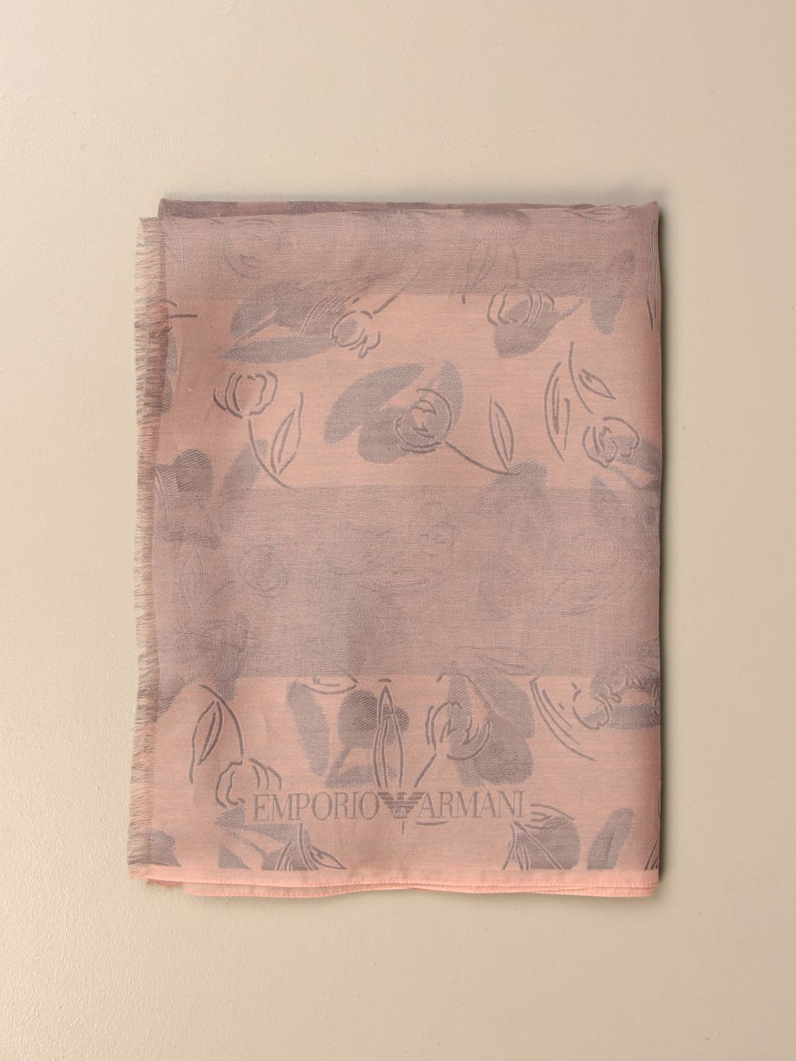 Emporio Armani Scarf Emporio Armani Scarf In Patterned Silk And Cotton