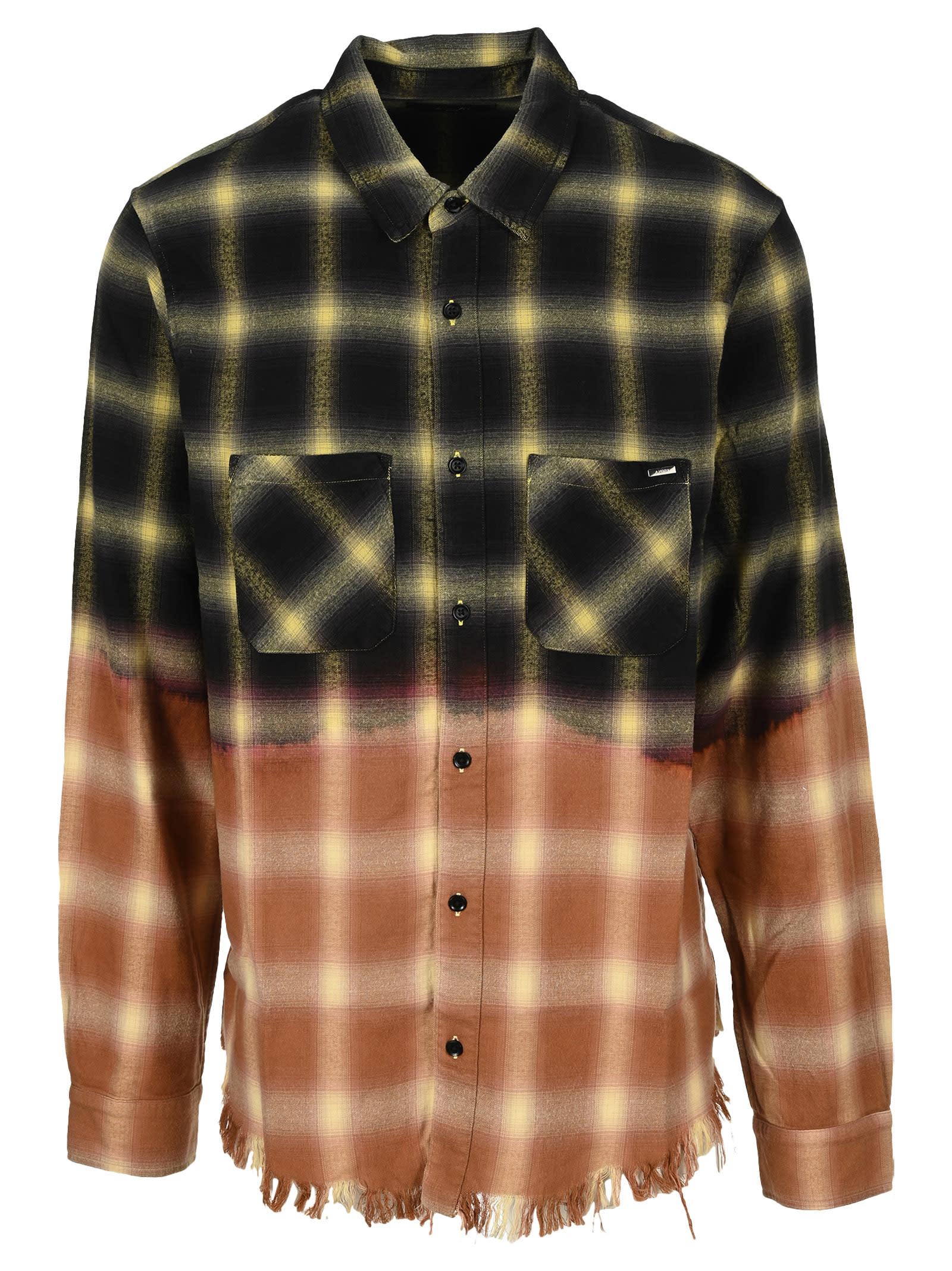 Amiri Bleached Shadow Plaid Shirt