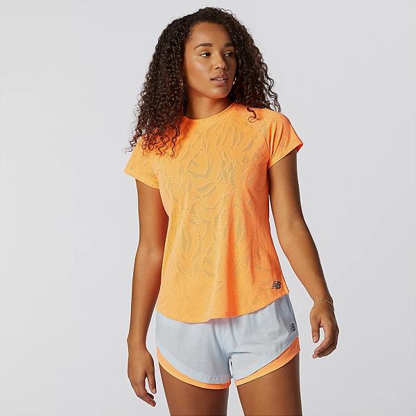 New Balance 女裝 短袖 慢跑 ICEx 乾爽 彈性 鏤空後背 橘【運動世界】AWT11278CPU