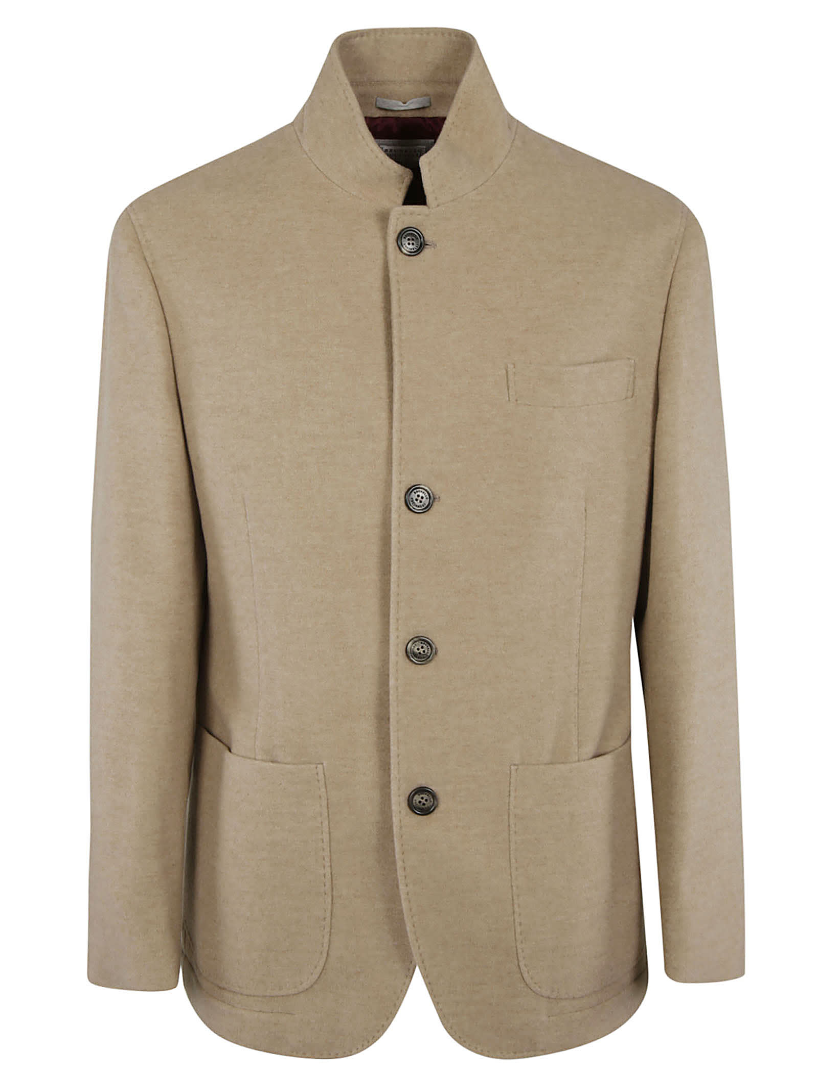 Brunello Cucinelli Standing-collar Plain Buttoned Jacket