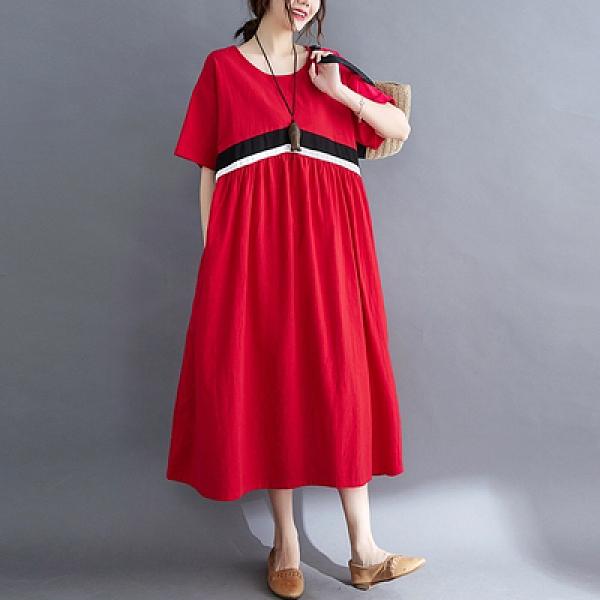 胖妹妹大碼洋裝連身裙~棉麻洋裝~~大碼女裝文藝復古印花系帶連身裙8300.FFA28莎菲娜