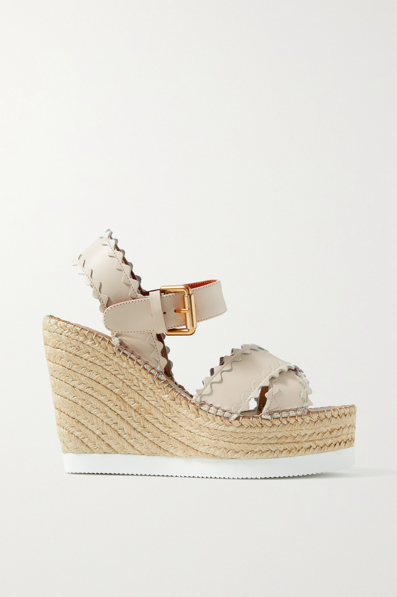 SEE BY CHLOÉ - Glynn Scalloped Leather Espadrille Wedge Sandals - Cream - IT38