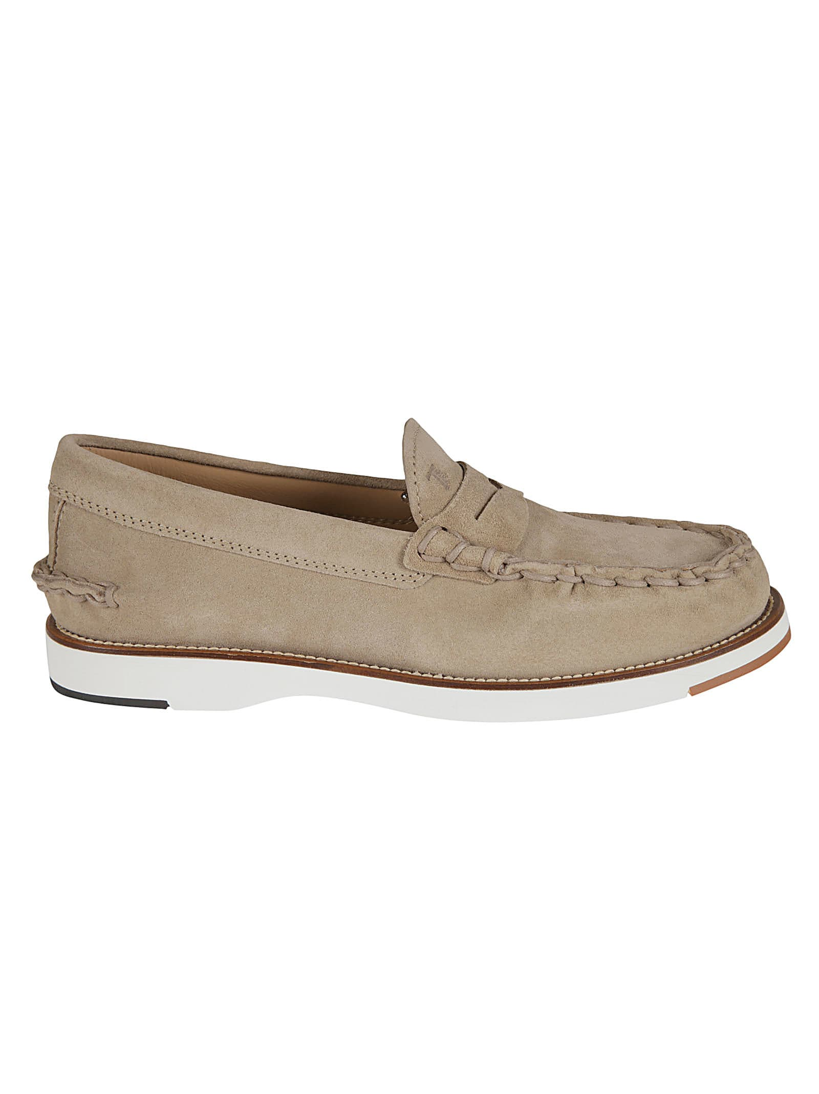 Tods Exposed Stitching Logo Stamp Loafers