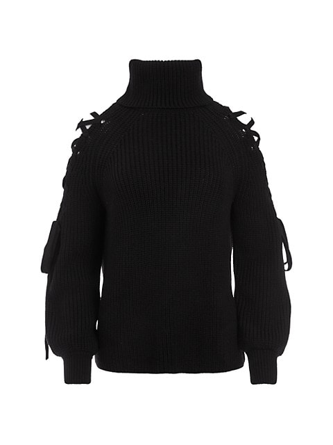 Izetta Lace-Up Open-Shoulder Turtleneck