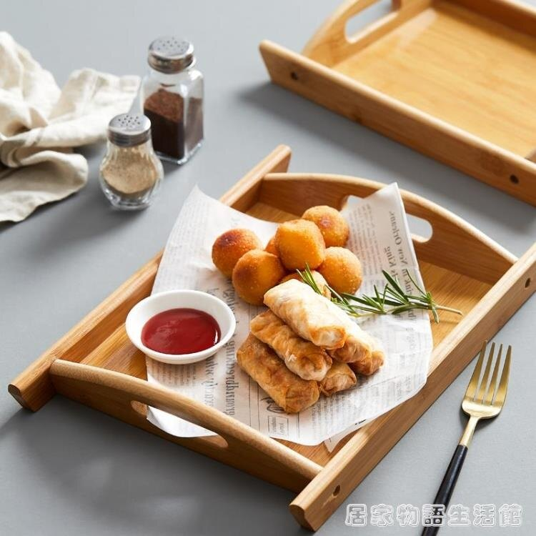 长方形竹盘点心零食面包木质托盘茶盘餐厅汉堡薯条炸鸡商用竹托盘