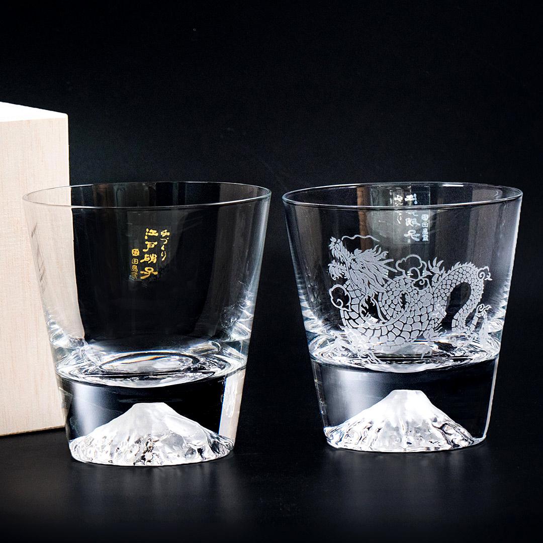 【送 品牌專屬提袋】田島硝子 經典款x限定款神龍杯 威士忌杯2入組 對杯 富士山杯 酒杯 隨飲料變色 玻璃杯 伴手禮推薦 TG15-015-R+TG19-001-RYU 熱賣中!