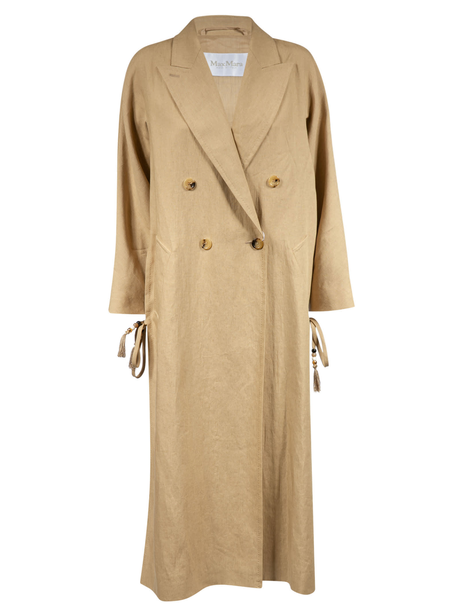 Max Mara Double-breasted Side Bow Tie Detail Coat