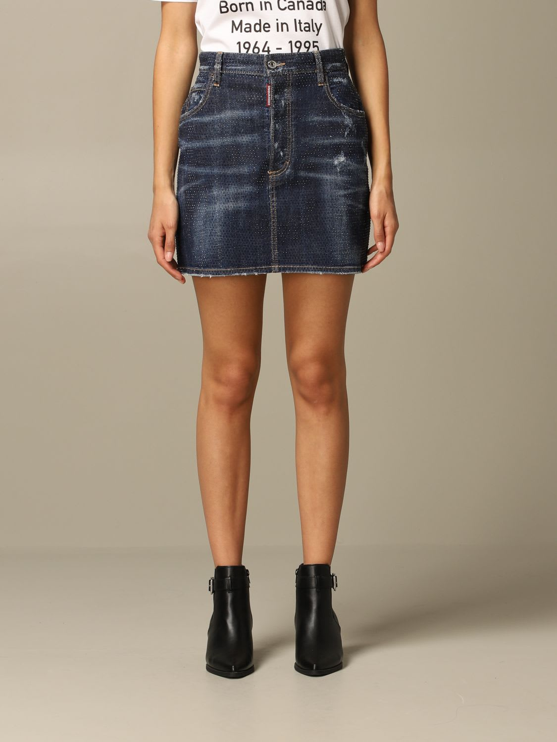 Dsquared2 Skirt Dsquared2 Denim Skirt With All Over Micro Crystals