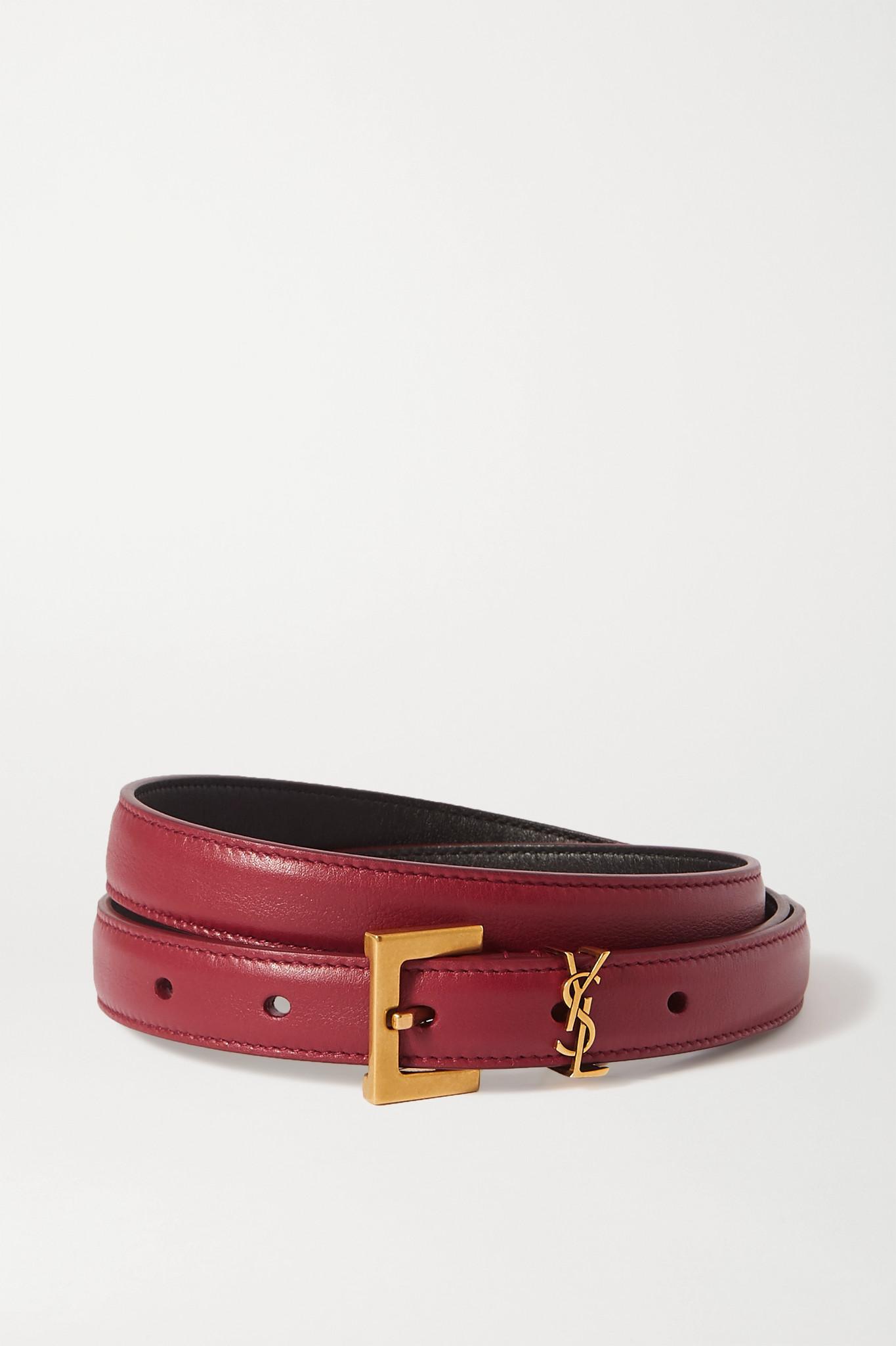 SAINT LAURENT - 皮革腰带 - 酒红色 - 90