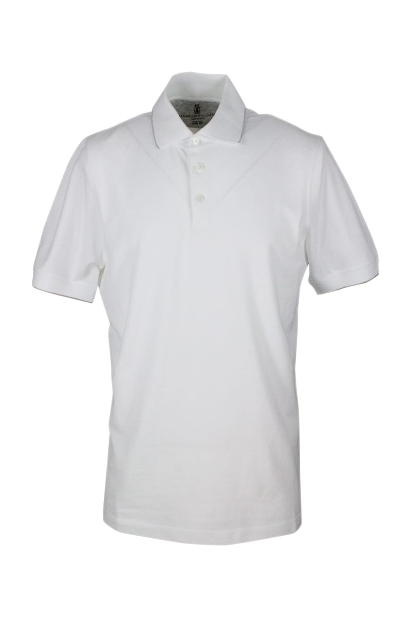 Brunello Cucinelli Polo Shirt In Cotton Pique With Short Sleeves With 3 Buttons With Profiles In Con