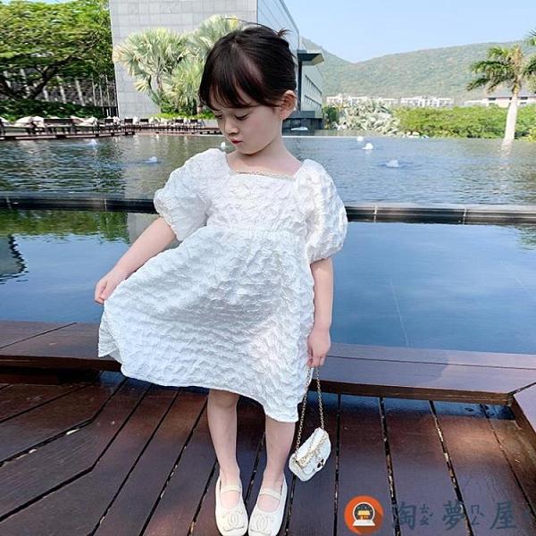 兒童連身裙女童夏裝洋氣純棉寶寶短袖時髦網美公主裙女孩【淘夢屋】