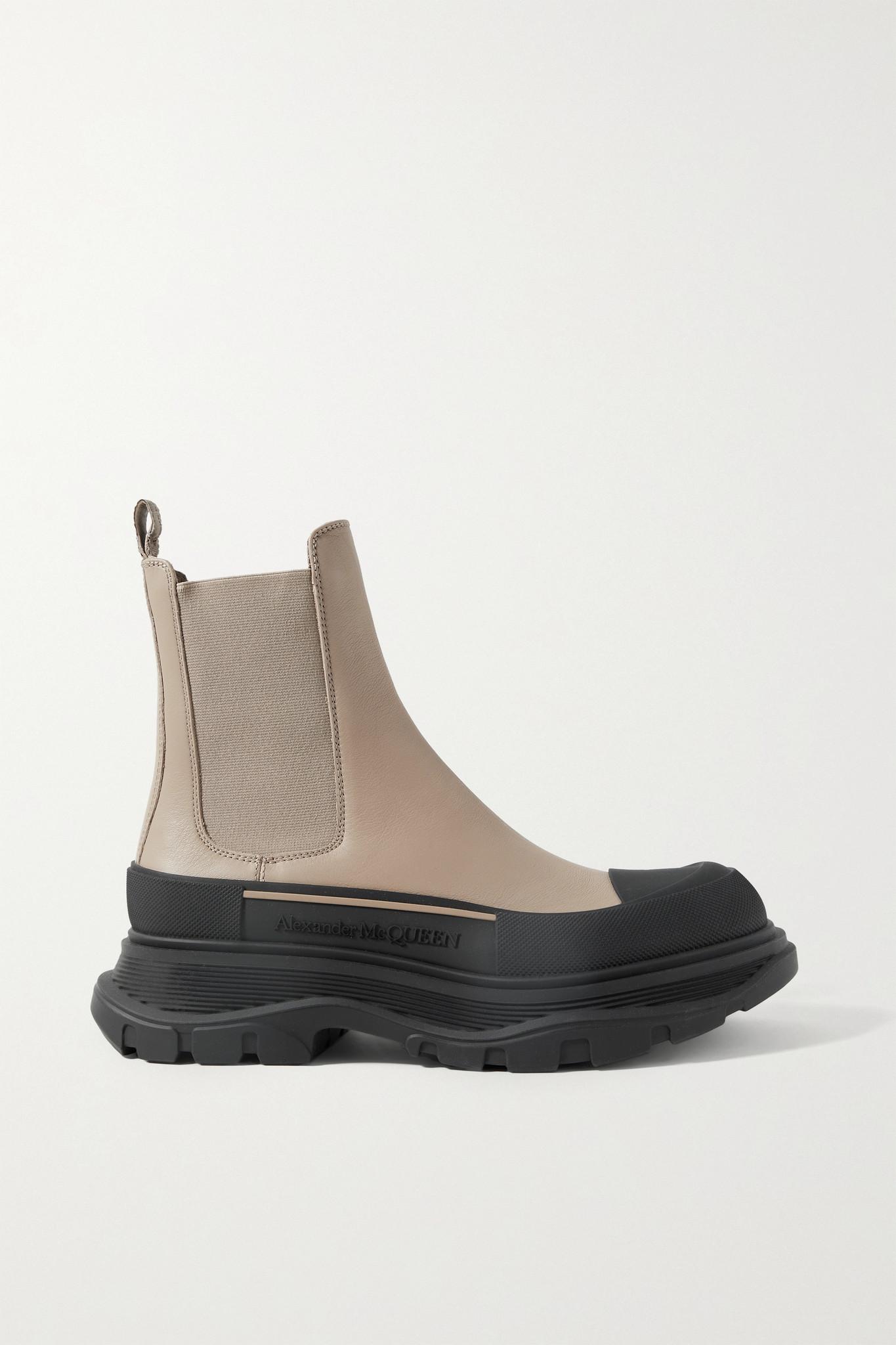 ALEXANDER MCQUEEN - 皮革厚底切尔西靴 - 中性色 - IT40