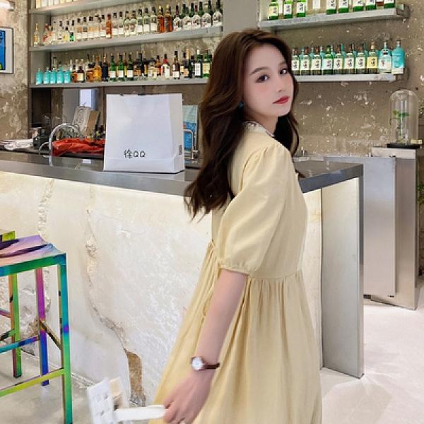 雪紡洋裝連身裙棉麻連衣裙女夏裝新款法式溫柔風裙子仙女超仙森系長裙潮D353A紅粉佳人