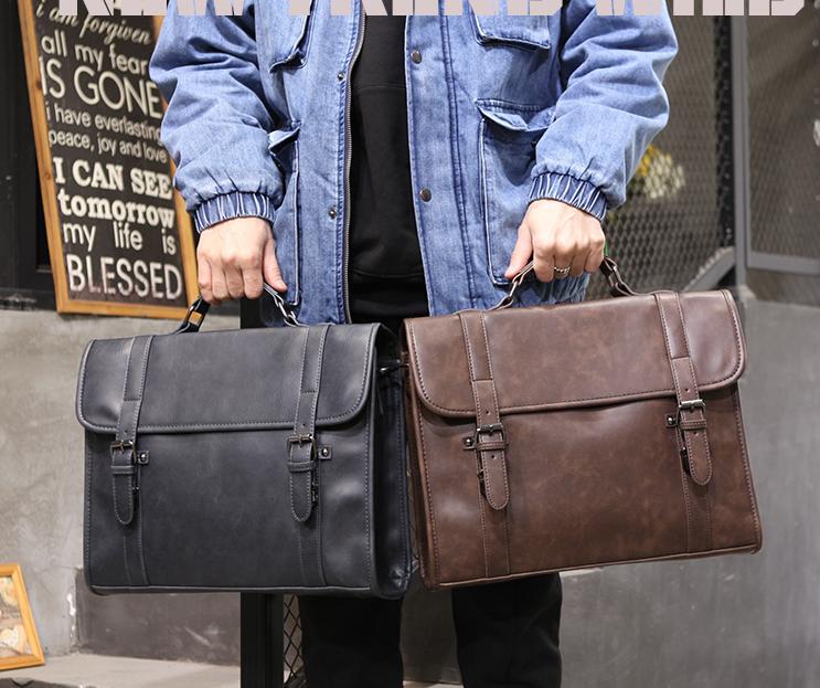 FINDSENSE X  男士手提包全新男款單肩包新款單肩包男斜挎包時尚手拎公文包