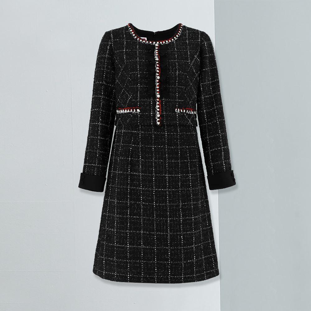 ILEY伊蕾 小香風經典格紋珍珠洋裝(黑)953764