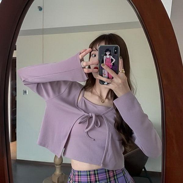 (下殺)春夏香芋紫吊帶背心罩衫兩件套【08SG05771】