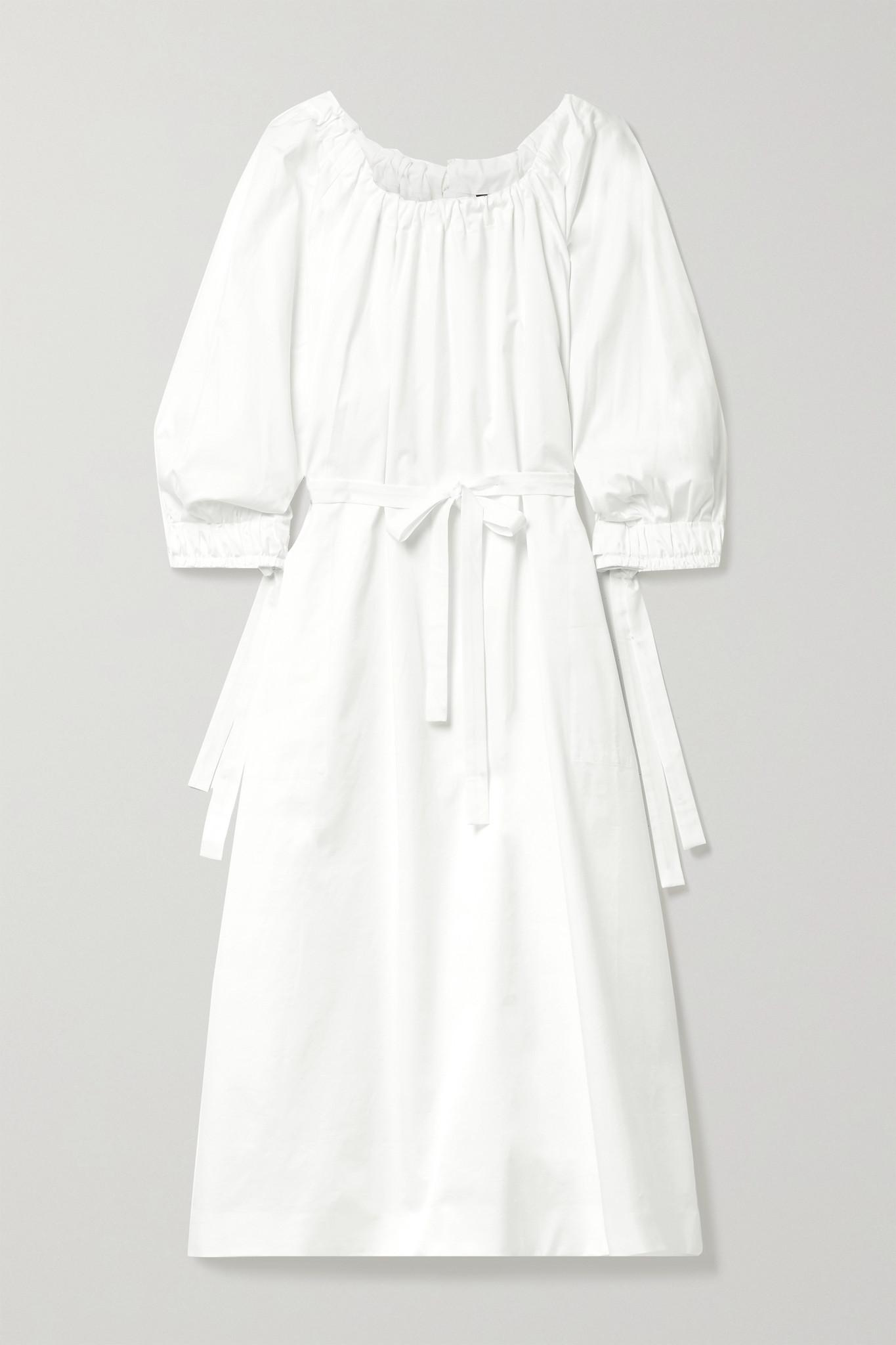 MOTHER OF PEARL - Zariah 配腰带褶饰棉质混纺府绸中长连衣裙 - 白色 - small