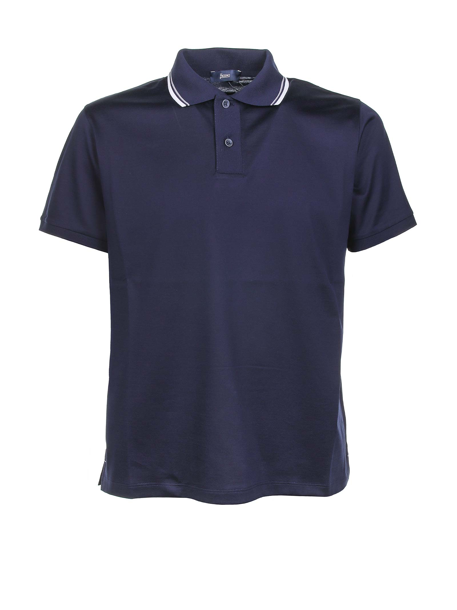 Stripe Trimmed Collar Polo Shirt